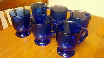 Anchor Hocking Cobalt Blue Glass Footed Mugs Pedestal Coffee 16 Oz. Set of 6