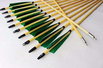 12PK Wood Arrows Turkey Feather 11/32 Traditional Hunting arrow Compound Recurve