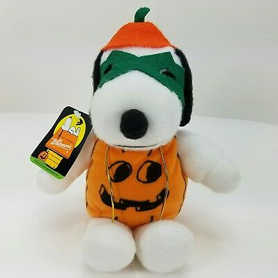 "Peanuts Snoopy Pumpkin Whitman's Plush Stuffed Animal Halloween 7"" x 6"" x 4"""
