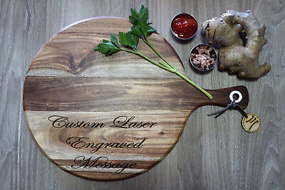 Custom Laser Engraved Personalised Round Chopping Serving Cheese Board