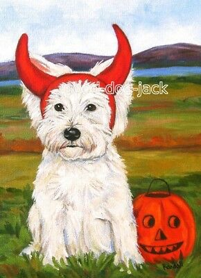 "West Highland Terrier HALLOWEEN ACEO WESTIE PRINT ""Devil Dog"" RANDALL"