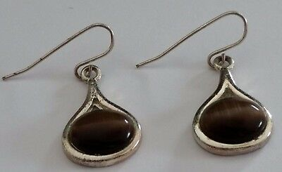 Vintage Southwest Silver Mocha Glass Dangle Earrings