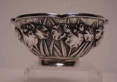 Chinese Export Silver Bowl Lutus Poppy Flower Signed, 95 Grams