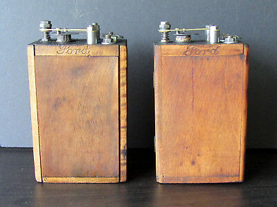 Restored 4 Ford Model T / A Wood Case Buzz Ignition Coils - Ford Script