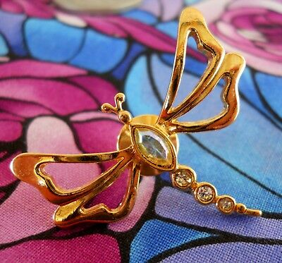 Vintage Dragonfly Winged Insect Gold Tone Crystal AB Body Gold Tone Lapel Pin