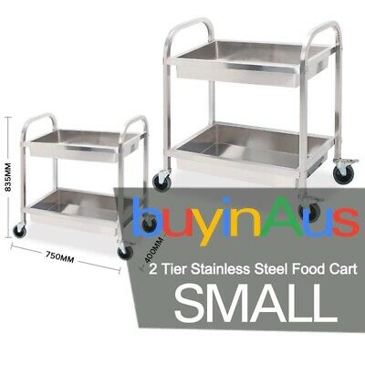 Stainless Steel Kitchen Trolley Cart 2 Tiers Dining Food Utility 75*40*83 Small