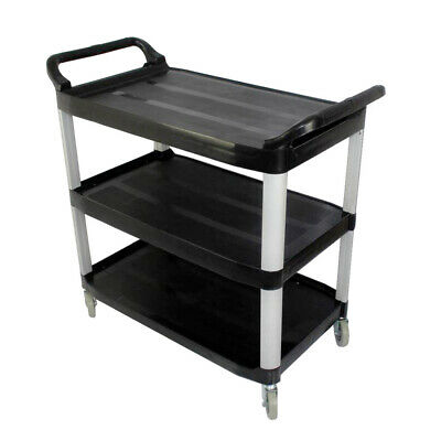 SOGA 3 Tier Food Trolley Food Waste Cart Storage Mechanic Kitchen Black Small