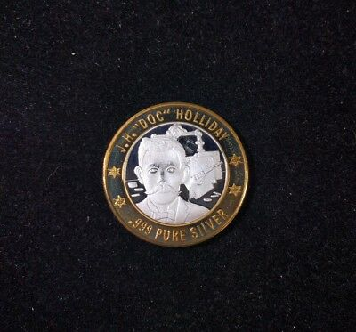 """Limited Edition Lawmen Series- J.H.""""Doc"""" Holliday .999 Fine Silver Gaming Token"""
