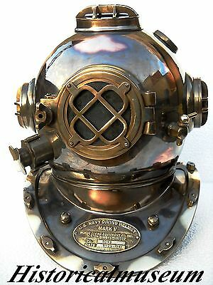 U.S Navy Mark V Solid Copper & Brass Beautiful Antique Divers Helmet