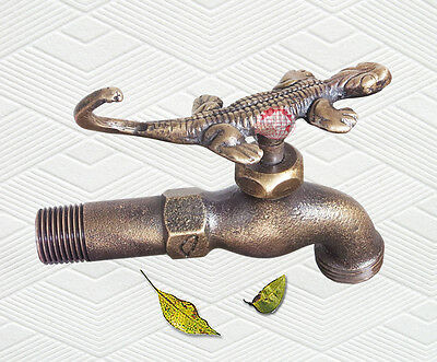 """Decorative Solid Brass Gecko Garden Outdoor Faucet 5"""" inches L"""
