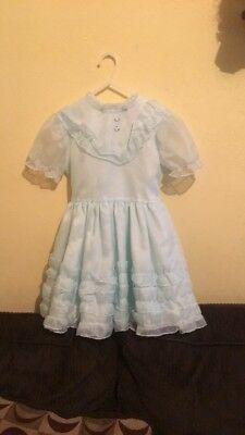 Vintage Sheer Blue Dress With Ruffles Size 6x