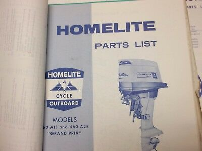 60s HOMELITE INBOARD/ OUTBOARD BOAT MOTOR SERVICE/PARTS MANUAL -OWNERS MAN.