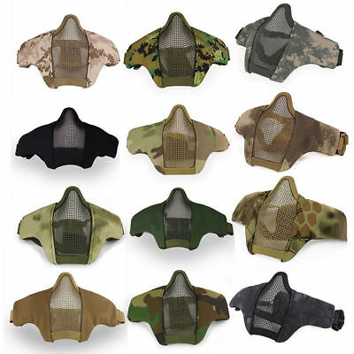 Adjustable Tactical Lower Half Face Mask for Military Hunting Airsoft Mesh New