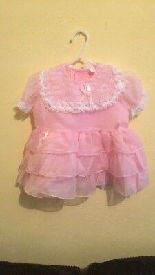 Vintage Pink Sheer Dress Childrens Clothes 50s *no size Tag, Check Measurements