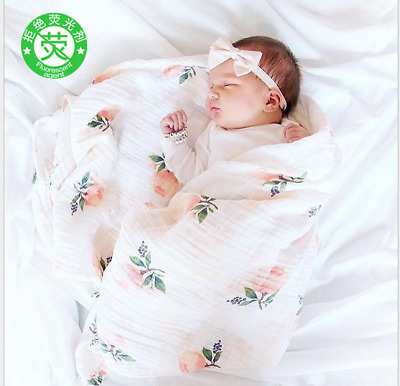"Cotton Muslin Baby Swaddle Blanket Wrap Newborn 120x120cm 47"" x 47"" Rose Girls"