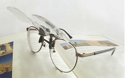 2X Aged Glasses Clip Type High Definition Acrylic Lens Magnifying Glass Loupe *