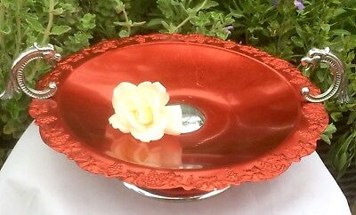 60's RED COLORCHROME ANODISED COMPORT SERVING BOWL & CHROME DRAGON KOI HANDLES