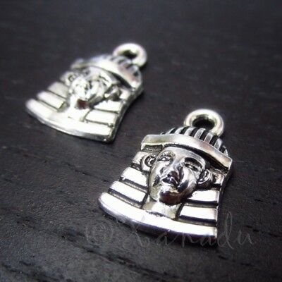 Egyptian Pharaoh 16mm Antiqued Silver Plated Charms C0941 - 10, 20 Or 50PCs