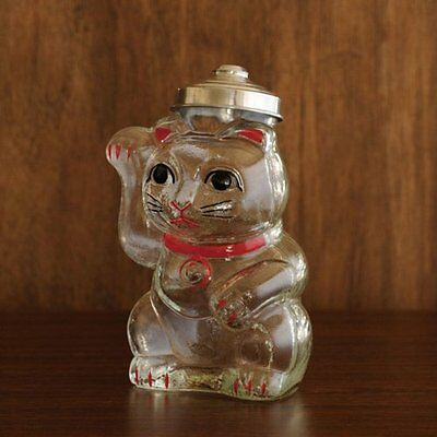 Japanese Lucky Cat Hirota glass container H 24cm