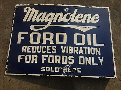 Ford Magnolene 2 Sided Porcelain Sign 22.5''X 16''.Flange 2''