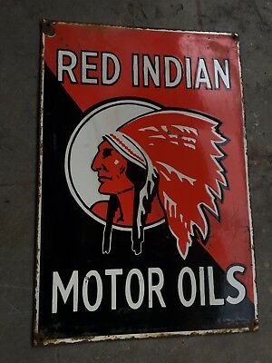 "Red Indian Motor Oils Porcelain Sign 20"" X 13.5"""