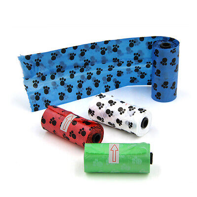 1Roll Paw Printing Degradable Clean Bags Pick Up Home Waste Pet Scooper Poop New