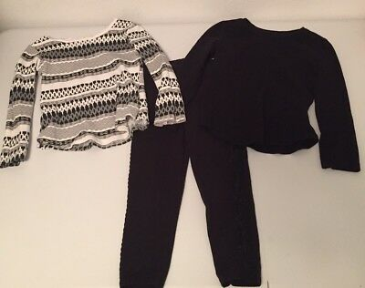 2 Pair Old Navy Girls Long Sleeve Tops & 1 Pair Garanimals Pants 3T