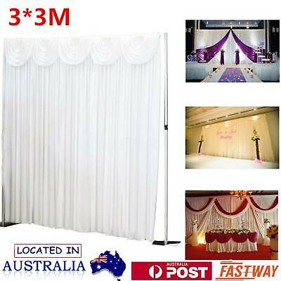 Wedding Party Stage Backdrop Drape Sheer Curtain Swag Photo Background 3*3M OZ