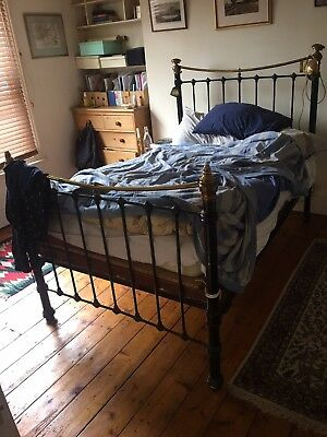 Antique Victorian Metal Brass Double Bed Four Poster