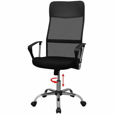 vidaXL Executive Swivel High Back Mesh Computer Office Chair PU Leather Black