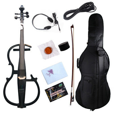 4/4 Electric cello Solid wood Powerful Sound cello bag Bow yinfente black color
