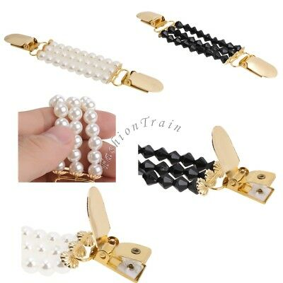 Women's Cardigan Sweater Shawl Clips Beaded Blouse Shirt Collar Duck-mouth Clip