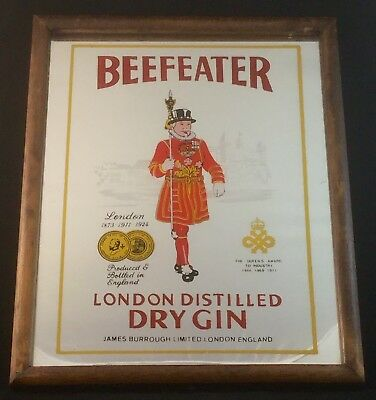 Vintage Beefeater London Distilled Dry Gin Promo Framed Bar Mirror Retro