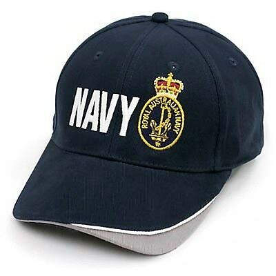 Royal Australian Navy Service Panel Cap Hat With Embroidered Navy Badge