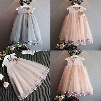 Princess Girls Flower Lace Tulle Tutu Dress Baby Kid Party Wedding Dress 2-7T AU