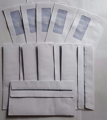 25 High Quality DL Self Seal Envelopes With Window 110 x 220mm plain White