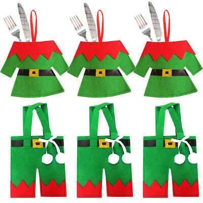 Christmas Wizard Tree Cutlery Tableware Holder Fork Spoon Bag Cover Decor Color