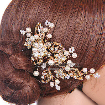Vintage Gold Bridal Hair Comb Hairpin Wedding Party Headwear w/ Crystal Pearl