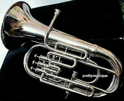 Euphonium 4 Valve New In Silver Chrome + Hard Case Box + Mouthpc + Free Shipping
