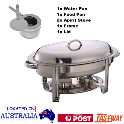 Oval Shape Stainless Steel Chafing Dish Buffet Food Warmer Bain Marie Heater OZ