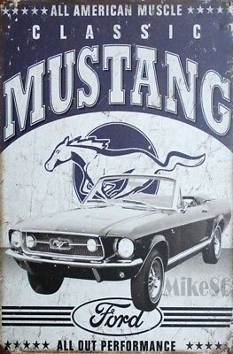 Grande Plaque Sexy Pin Up Mustang Classic-Bombee -Deco Usa -40X30 Cm -Ford