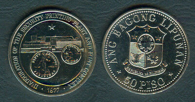 1977 CB Security Printing Plant & Mint Complex 50 Piso Philippine Silver Coin