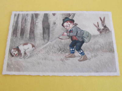 Comic Drawn Hunting Postcard Posted Czechoslovakia