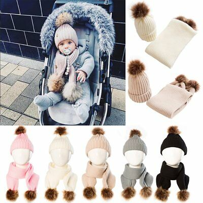 Newborn Kids Baby Boy Girls Winter Warm Pom Bobble Hat Knit Beanie Cap Scarf Set