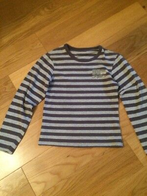 Verbaudet Boys Blue And Grey Striped Long Sleeved Top.