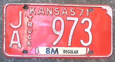 "American license plate. Vintage 1971 Kansas ""Truck"" number plate - Rusty Gold !"