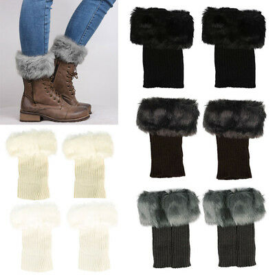 Womens Warm Winter Socks Faux Fur Boot Shoes Cuffs Cover Toppers  Leg Warmers