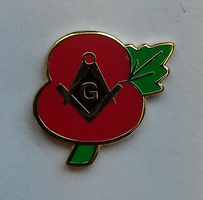 NEW Masonic Poppy(square and compass with G) Lapel pin LP53