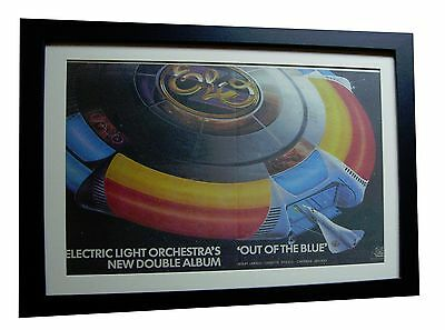 ELO+ELECTRIC+Out Of Blue+POSTER+AD+RARE ORIGINAL 1977+FRAMED+EXPRESS GLOBAL SHIP