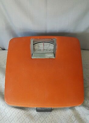 Vintage Funky Orange Coloured Bathroom Scales.  Made In Ireland.